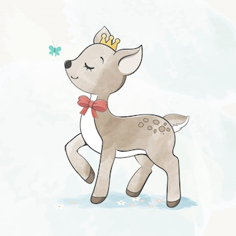 Cute baby deer with butterfly water color cartoon hand drawn
