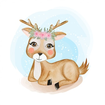 Cute baby deer with flower crown watercolor illustration