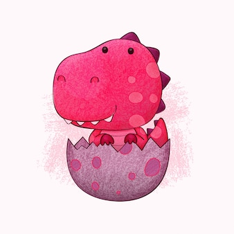 Cute baby dino. in colored pencils style.