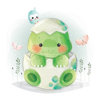 Cute baby dino in colorful egg