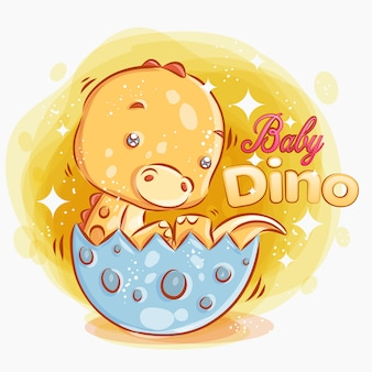 Cute baby dino get out from the egg.colorful cartoon illustration.