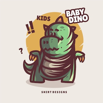 Cute baby dino illustration