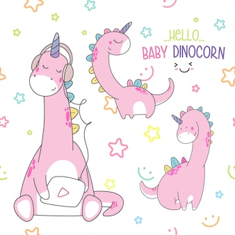 Cute baby dino seamless pattern