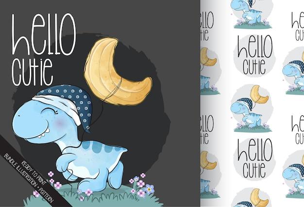 月のイラストとシームレスなパターンでかわいい赤ちゃん恐竜