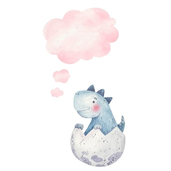 Cute baby dinosaur in egg and thought icon, cloud, childrens illustration in watercolor