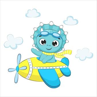 비행기를 타고 날아가는 귀여운 아기 공룡. 만화 그림입니다.