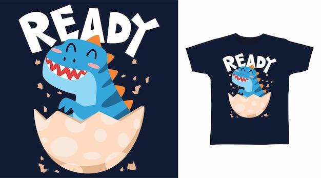 달걀 껍질 티셔츠 디자인의 귀여운 아기 공룡