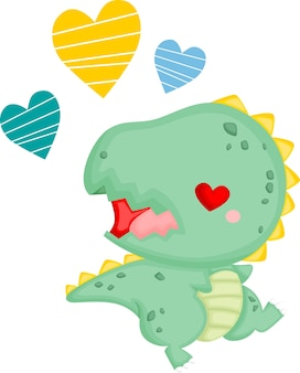 A cute baby dinosaur in love
