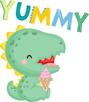 A cute baby dinosaur with an ice cream