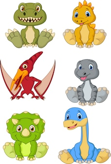 Cute baby dinosaurs cartoon collection set