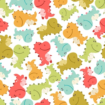 Cute baby dinosaurs vector seamless pattern on white background for wallpaper, wrapping, packing, and backdrop.