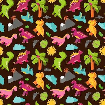 かわいい赤ちゃんの恐竜のパターン。恐竜漫画jurassic捕食者ベクトルの背景