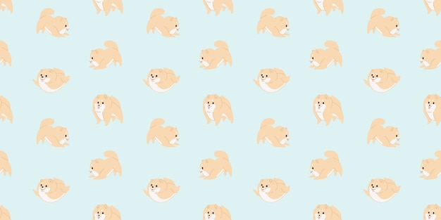 Cute baby dog animal seamless pattern