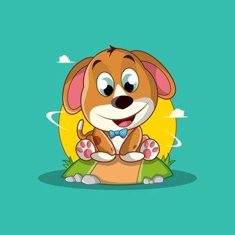 귀여운 아기 강아지 만화 캐릭터 일러스트