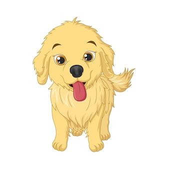 白い背景の上のかわいい赤ちゃん犬の漫画