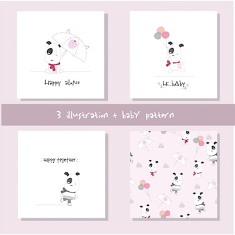 Cute baby dog cartoon set seamless pattern