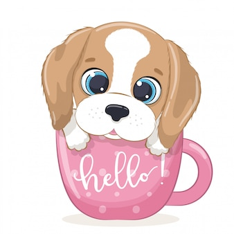 Cute baby dog in cup.