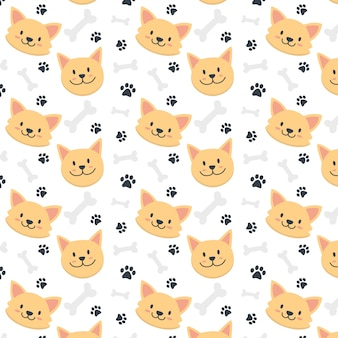 Cute baby dog face pattern