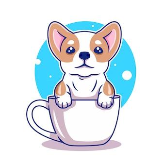 Милый ребенок собака, щенок на чашке векторные иллюстрации
