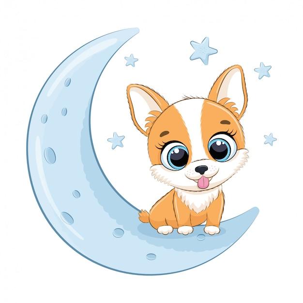 月に座っているかわいい赤ちゃん犬。図
