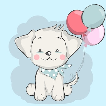 Cute baby dog with balloon cartoon