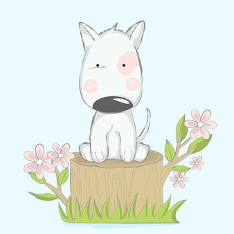 Cute baby dog with flower cartoon hand drawn style
