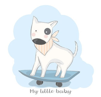 Cute baby dog with skateboard cartoon hand drawn style