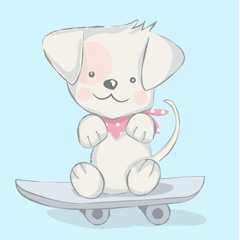 Cute baby dog with skateboarding cartoon hand drawn style