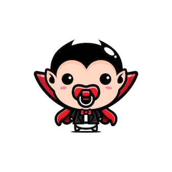 Cute baby dracula design isolated on white
