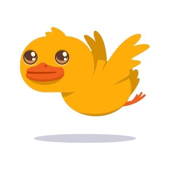 Милый ребенок утка летит. мультипликационный персонаж птицы, изолированные на белом фоне.