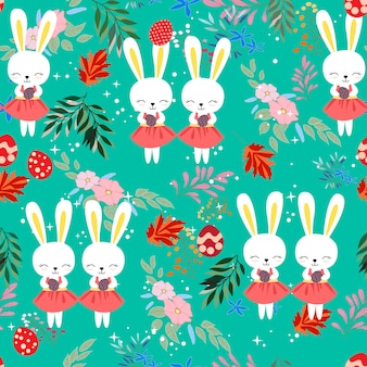 Cute baby easter rabbit in the flower frame seamless pattern