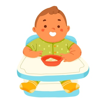 Cute baby eat complementary feeding puree in highchair