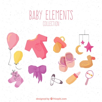Cute baby elements collection in hand drawn style