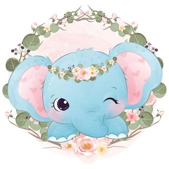 かわいい象の赤ちゃんと春の花のイラスト