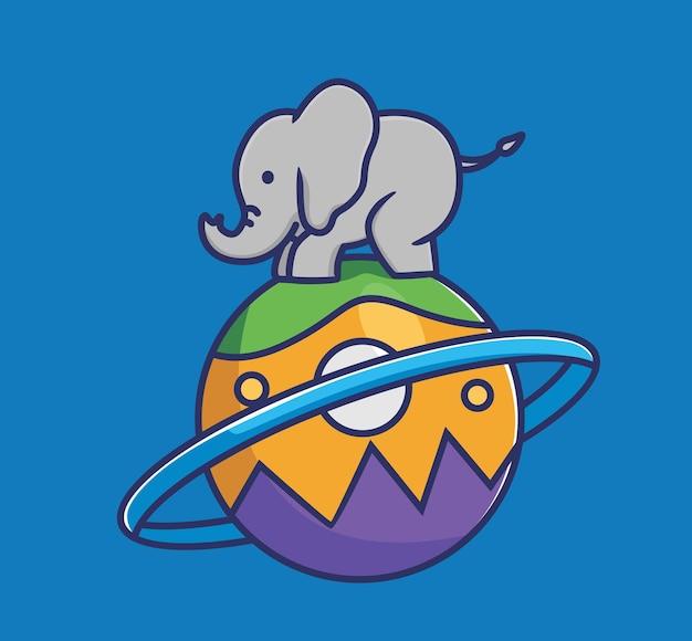 Милый слоненок балансирует на большом красочном шаре планеты. животное плоский мультяшный стиль иллюстрации значок премиум векторный логотип талисман, подходящий для веб-дизайна баннера