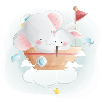 Cute baby elephant and bunny sitting on a boat