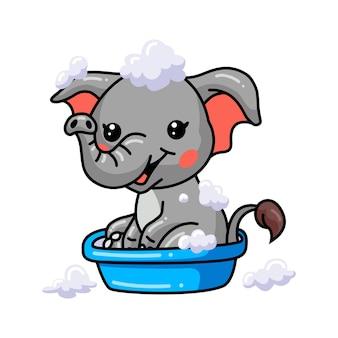 Cute baby elephant cartoon bath in bathtub