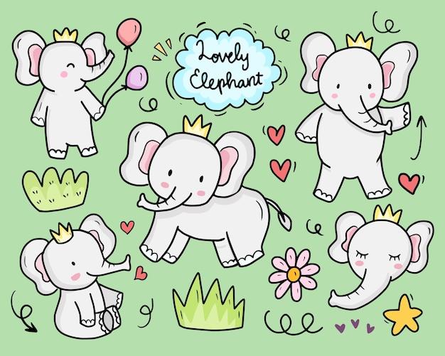 Cute baby elephant cartoon doodle drawing illustration set