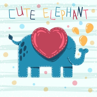 Cute baby elephant cartoon illustration