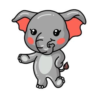 귀여운 아기 코끼리 만화 포즈