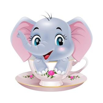 カップに座っているかわいい象の赤ちゃんの漫画