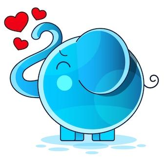 Cute baby elephant cartoon sitting stock illustration on a background. for design, decoration, logo.