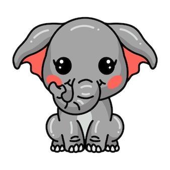 귀여운 아기 코끼리 만화 앉아