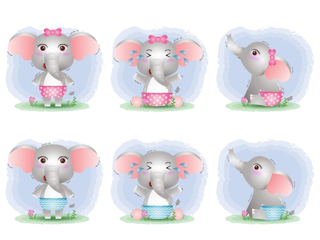 Cute baby elephant collection in the children's style