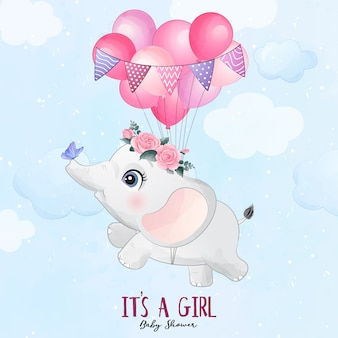 Cute baby elephant flying with balloon illustration
