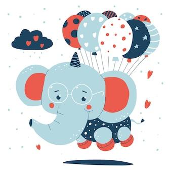 Милый слоненок летит с изолированными иллюстрациями шаржа воздушных шаров