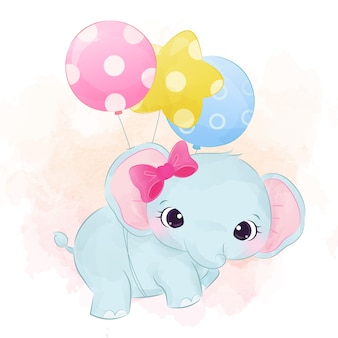 Cute baby elephant flying with balloons   watercolor