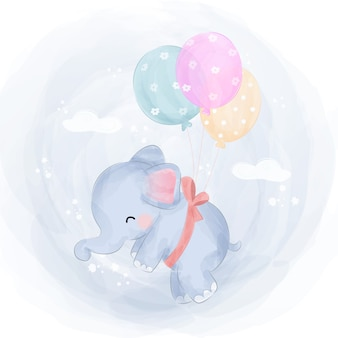 Cute baby elephant flying with balloons