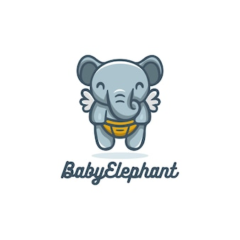 Cute baby elephant flying with wings logo mascot