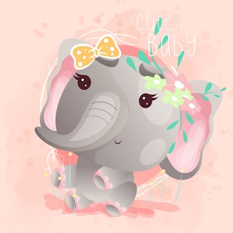 Cute baby elephant greeting card. vector